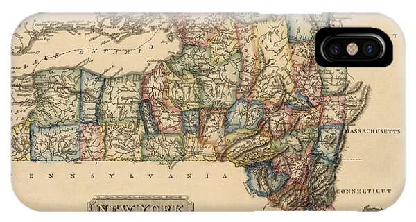 Cities iPhone Case - Antique Map Of New York State By Fielding Lucas - Circa 1817 by Blue Monocle