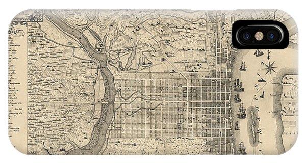 Antique Map Of Philadelphia By P. C. Varte - 1875 Phone Case by Blue Monocle