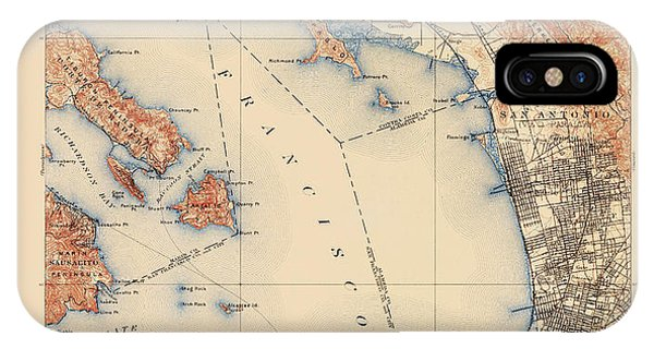 Antique Map Of San Francisco And The Bay Area - Usgs Topographic Map - 1899 IPhone Case
