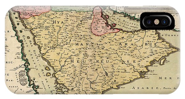Antique Map Of Saudi Arabia And The Arabian Peninsula By Nicolas Sanson - 1654 IPhone Case