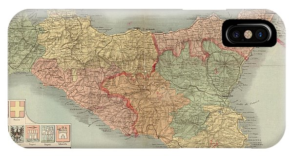 Antique Map Of Sicily Italy By Antonio Vallardi - 1900 Phone Case by Blue Monocle
