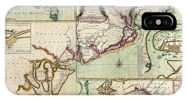 Antique Map Of South Carolina By Edward Crisp - Circa 1711 Phone Case by Blue Monocle