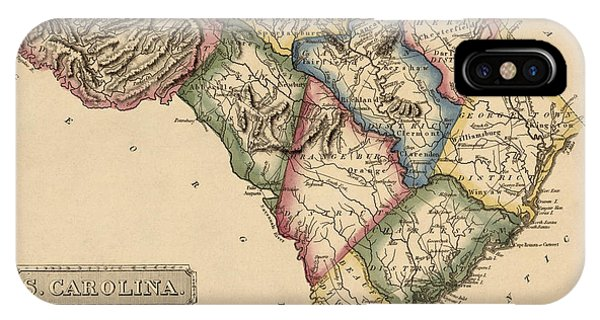 Antique Map Of South Carolina By Fielding Lucas - Circa 1817 Phone Case by Blue Monocle