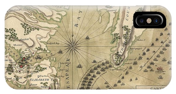 Antique Map Of The Battle Of Yorktown Virginia By Esnauts Et Rapilly - Circa 1781 IPhone Case