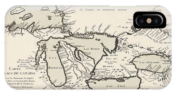 Lake Superior iPhone Case - Antique Map Of The Great Lakes By Jacques Nicolas Bellin - 1742 by Blue Monocle