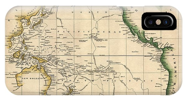 Pacific Ocean iPhone Case - Antique Map Of The Pacific Ocean By Henry Schenck Tanner - Circa 1820 by Blue Monocle