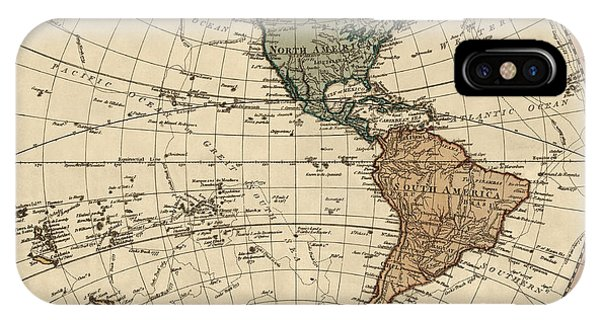 Pacific Ocean iPhone Case - Antique Map Of The Western Hemisphere By William Faden - 1786 by Blue Monocle