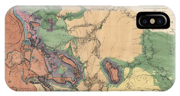 Yellowstone National Park iPhone Case - Antique Map Of The Yellowstone And Missouri Rivers By F. V. Hayden - 1869 by Blue Monocle