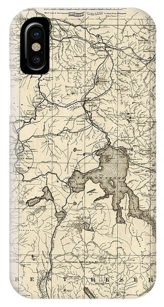 Yellowstone National Park iPhone Case - Antique Map Of Yellowstone National Park By The U. S. War Department - 1900 by Blue Monocle