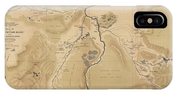 Yellowstone National Park iPhone Case - Antique Map Of Yellowstone National Park - Lower Geyser Basin - 1872 by Blue Monocle