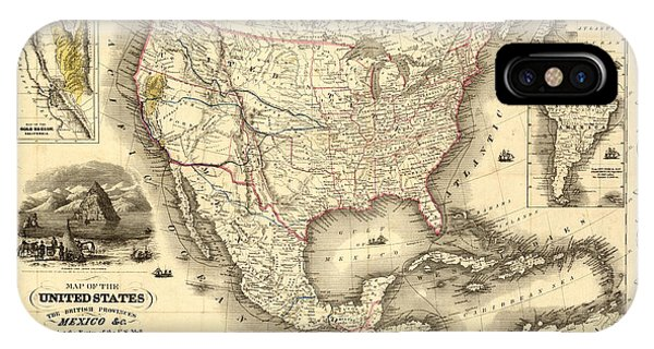 Antique North America Map IPhone Case