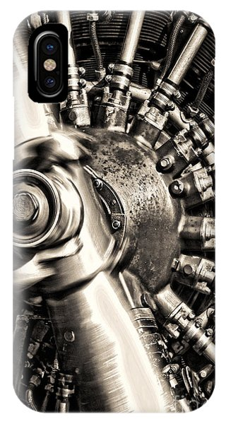 Spin iPhone Case - Antique Plane Engine by Olivier Le Queinec