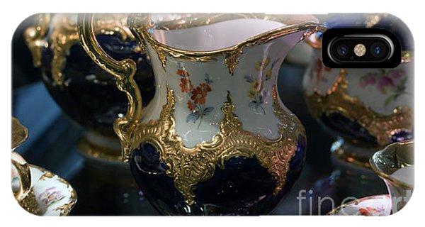 Antique Porcelain Coffee Set In Show Case IPhone Case