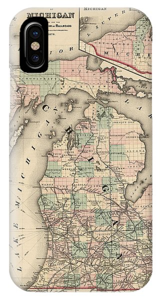 Great Lakes iPhone Case - Antique Railroad Map Of Michigan By Colton And Co. - 1876 by Blue Monocle