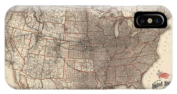 Antique Railroad Map Of The United States - Union Pacific - 1892 IPhone Case