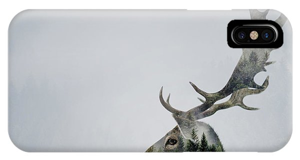 Stag iPhone Case - Antler Double-exposed by Angyalosi Be??ta