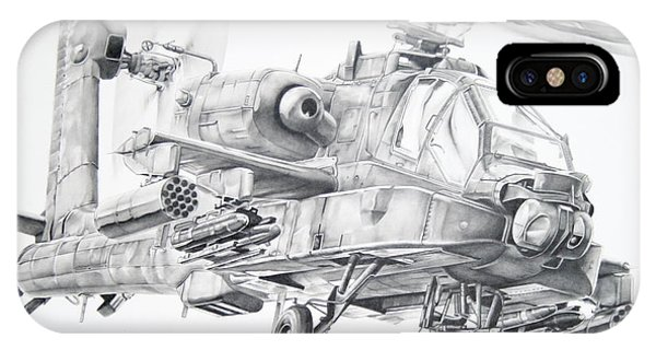 Helicopter iPhone Case - Apache by James Baldwin Aviation Art