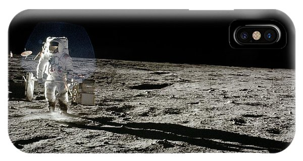 Spaceflight iPhone Case - Apollo 12 Astronaut Walking On The Moon by Nasa/science Photo Library