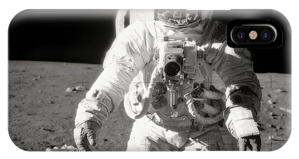 Astronomy iPhone Case - Apollo 12 Moonwalk - 1969 by World Art Prints And Designs