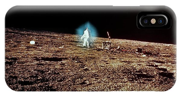 Spaceflight iPhone Case - Apollo 12 Wide-angle View Of Astronauts On Moon by Nasa/science Photo Library