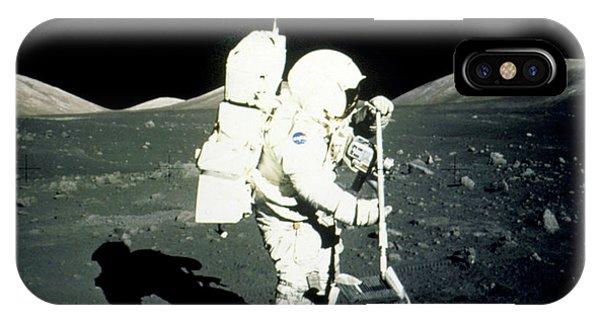 Apollo 17 Astronaut Collecting Lunar Rock Samples Phone Case by Nasa/science Photo Library