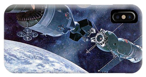 Spaceflight iPhone Case - Apollo Soyuz Test Project In Orbit by Davis Meltzer/nasa