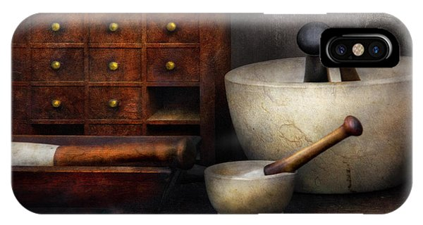 Table iPhone Case - Apothecary - Pestle And Drawers by Mike Savad