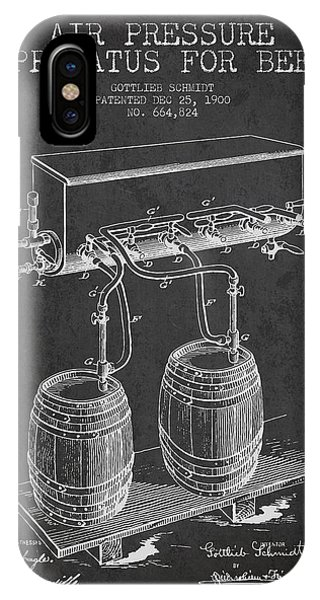 Patent Drawing iPhone Case - Apparatus For Beer Patent From 1900 - Dark by Aged Pixel
