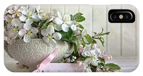 Apple Blossom Flowers In Vase With Gift Card IPhone Case