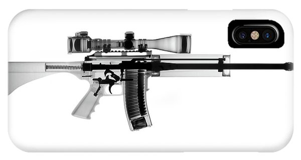 Calico M100 iPhone Case - Ar 15 Pro Ordnance Carbon 15 X-ray Photograph by Ray Gunz