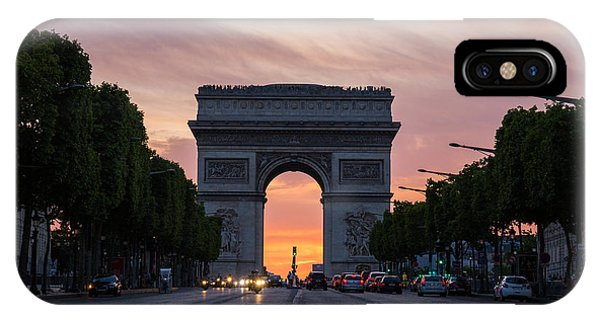 Arch Of Triumph With Dramatic Sunset IPhone Case
