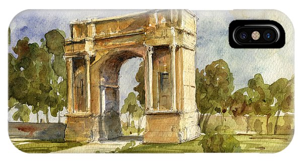 Columns iPhone Case - Arch Triumphal Of Antonius Pius At Tunisia by Juan  Bosco