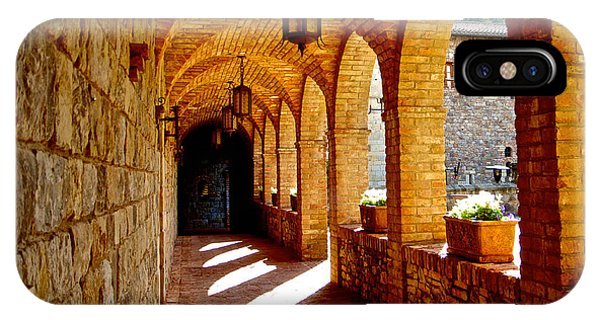 Archway By Courtyard In Castello Di Amorosa In Napa Valley-ca IPhone Case