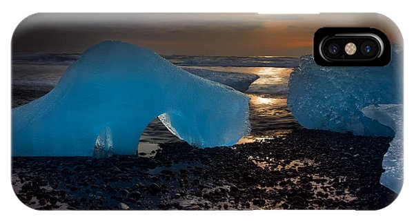 Black Sand iPhone Case - Arctic Morning Ice Melt by Mike Berenson