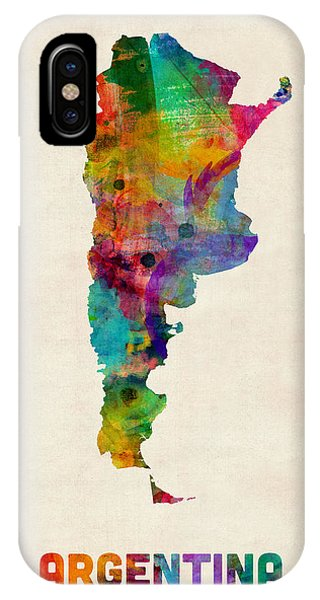 Argentina iPhone X Case - Argentina Watercolor Map by Michael Tompsett