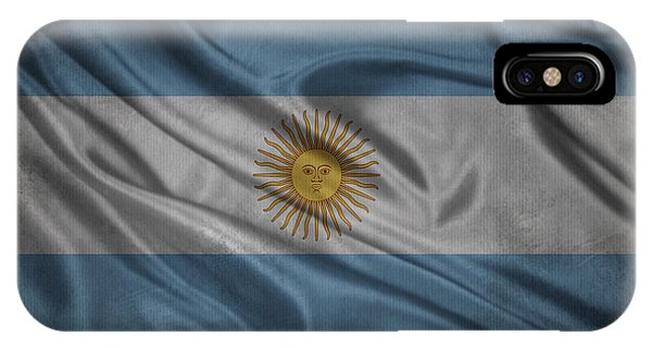 Argentinian Flag Waving On Canvas IPhone Case