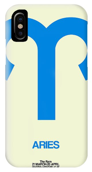 Aries Zodiac Sign Blue IPhone Case