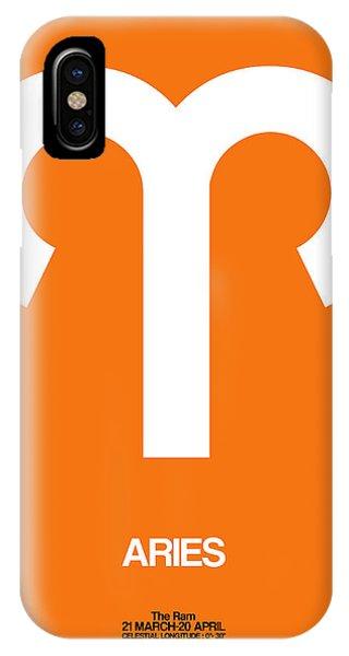 Aries Zodiac Sign White On Orange IPhone Case