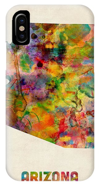 Arizona Watercolor Map Phone Case by Michael Tompsett