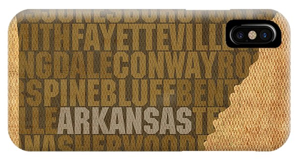 Arkansas Word Art State Map On Canvas IPhone Case