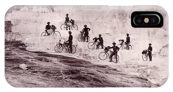 Mammoth Hot Springs iPhone Case - Army Bicyclists Mammoth Hot Springs by NPS Photo