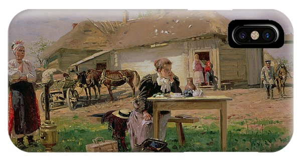 Novelty iPhone Case - Arrival Of A School Mistress In The Countryside, 1897 Oil On Canvas by Vladimir Egorovic Makovsky