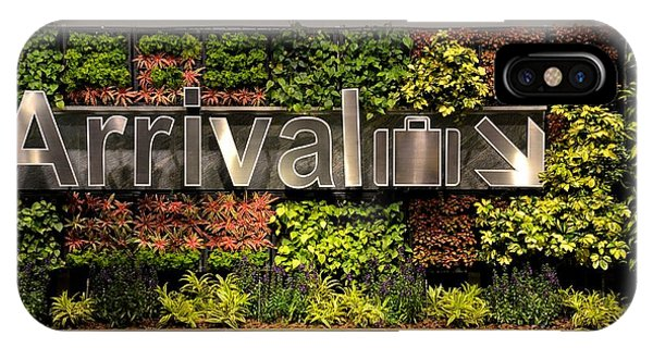 Arrival Sign Arrow And Flowers At Singapore Changi Airport IPhone Case
