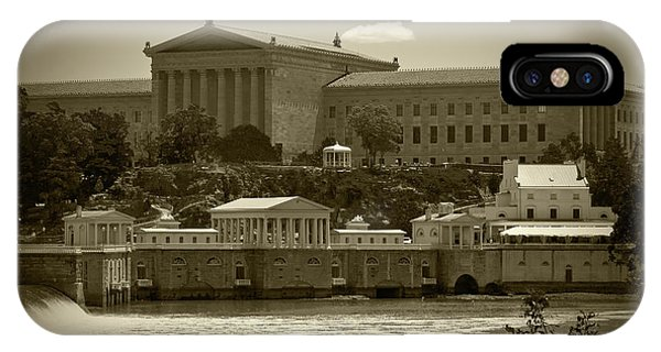 Art Museum And Fairmount Waterworks - Bw IPhone Case
