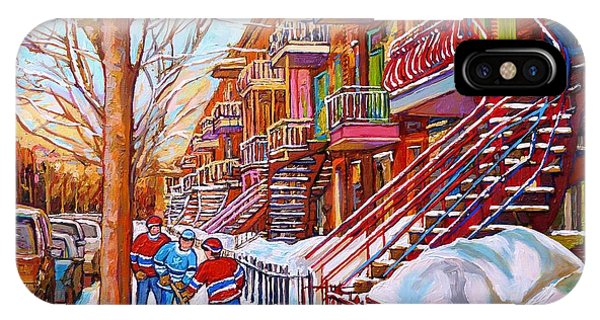 Art Of Montreal Staircases In Winter Street Hockey Game City Streetscenes By Carole Spandau IPhone Case