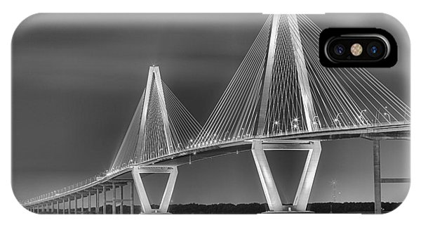 Arthur Ravenel Jr. Bridge In Black And White IPhone Case