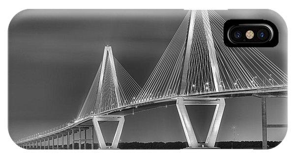 Arthur Ravenel Jr. Bridge In Black And White IPhone Case