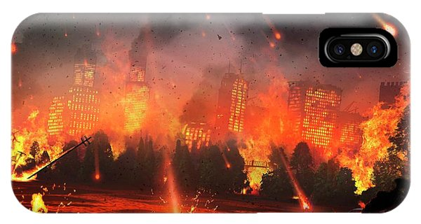 Artwork Of A City Hit By Meteorites Phone Case by Mark Garlick