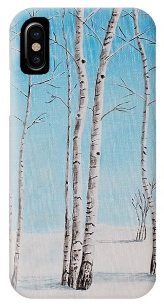 Aspens In Snow IPhone Case