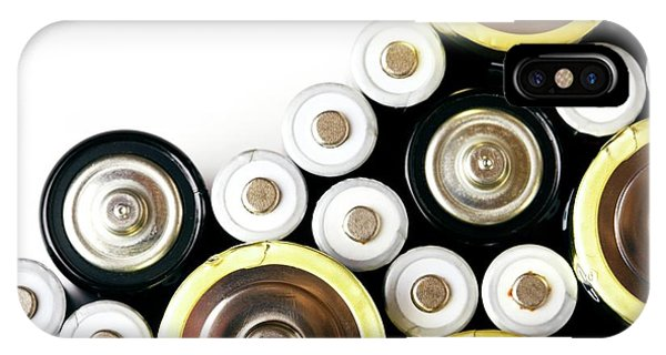 Battery D iPhone Case - Assorted Batteries by Emmeline Watkins/science Photo Library